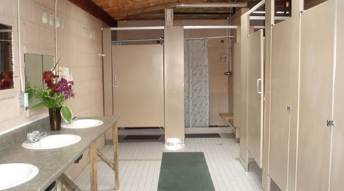 Woodhaven RV Park - Clean, modern bathrooms with free hot showers